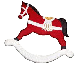 a red wooden horse